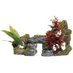 Decoracion tronco y roca en resina M